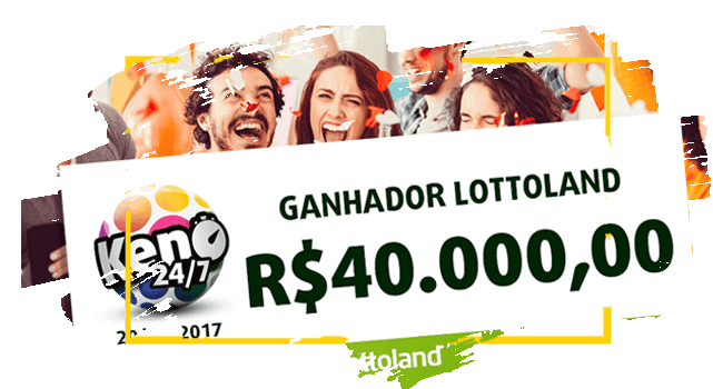 Personas celebran el cheque del ganador de Lotoland con Keno 24/7