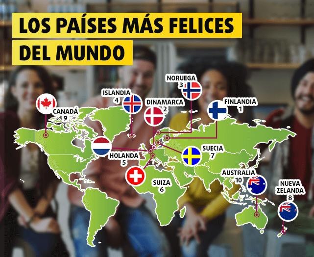 Mapa con los países más felices del mundo