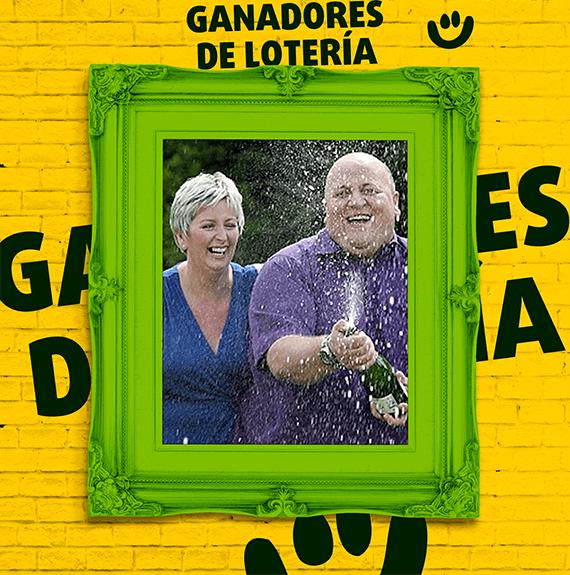 Marco de foto con Adrian y Gillian Bayford ganadores de la lotería EuroMillones