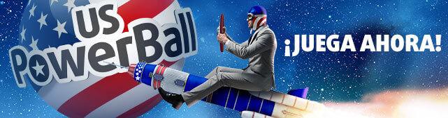 Hombre conduce un cohete via a jugar el PowerBall