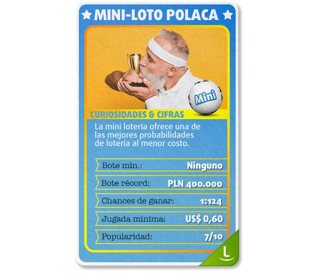 Tarjeta con curiosidades e información  sobre la Mini-Loto Polaca: chances, botes y más