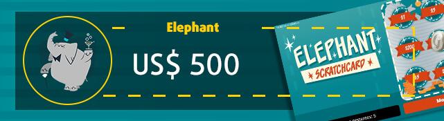 Imagen de la raspadita Elephant y su premio de US$ 500