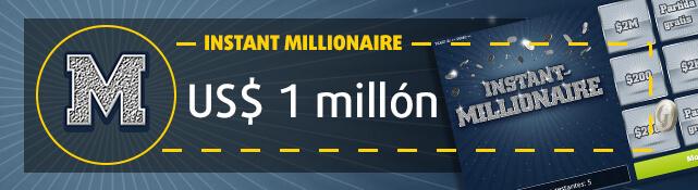 Imagen de la raspadita Instant Millionaire y su premio de US$ 1 millón