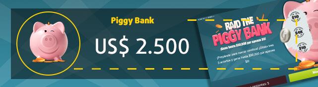 Imagen del rasca y gana Piggy Bank y su premio de US$ 2.500