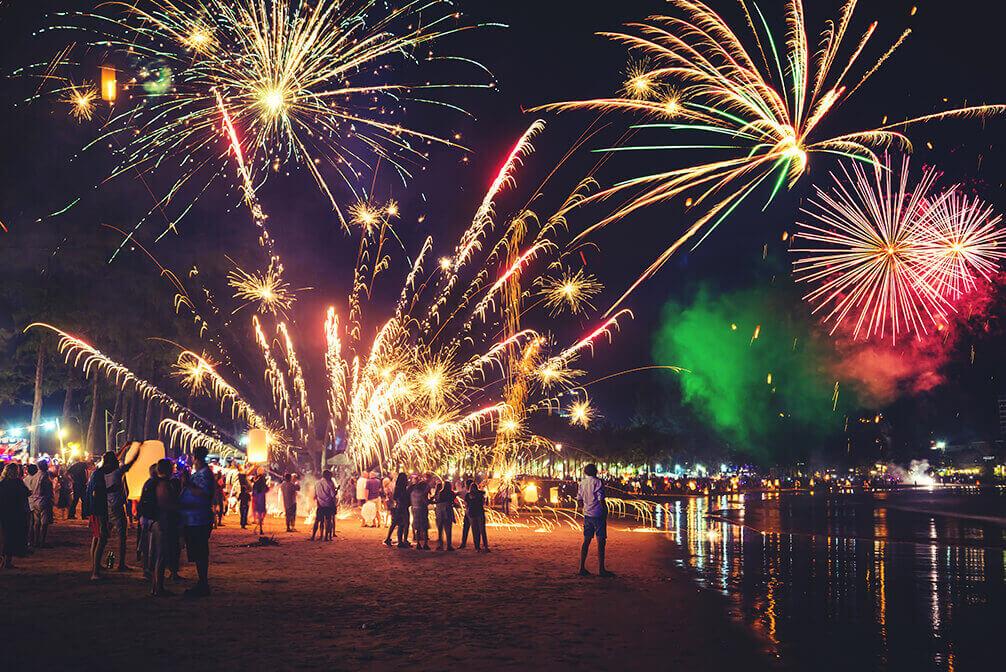 Fuegos artificiales para celebrar el Año Nuevo